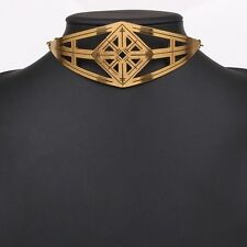 Gothic Women Carved Punk Chunky Choker Gold Plated Necklace Metal Collar