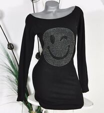 NEU TREND STRICK LONG PULLI MINIKLEID BUTTERWEICH SMILEY NIETEN SCHWARZ 36 38