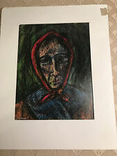 """Nice Lewis J Miller """"Lady With Red Scarf"""" Encaustic Painting - Matted/Signed"""