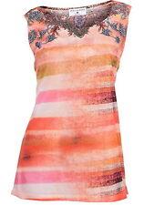 Rick Cardona Träger Shirt Top 38 Orange/bunt mit Schmucksteinchen Print Top NEU