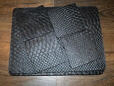Genuine Leather Placemats & Coasters Set Of Four Each Black & Silver - Mulberry