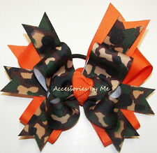 Camouflage Hair Bow Green Orange Grosgrain Ribbon Girls Softball Volleyball Pony