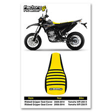 2008-2014 YAMAHA WR 250 X & R Black/Yellow/Black RIBBED SEAT COVER BY Enjoy MFG