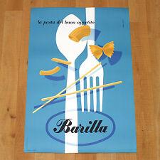 BARILLA poster manifesto affiche pubblicitario Erberto Carboni Pasta Posate 1952