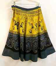 Tie Dye Tribal Sequin Festival Ethnic Peasant Cotton Skirt  Size : L Gray Yellow