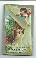 Old Trade Card J. H. Reichert's Cream Parlors Ice Cream Reading PA Mill Angel
