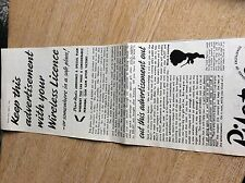 T1-7 ephemera 1941 ww2 folded advert pilot radio wireless