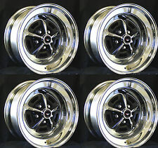 """NEW! Ford Magnum 500 Wheels 14"""" x 7"""" Set of Complete W/ Black Caps and Nuts"""