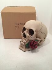 Argentine Rose in Mouth Skull Money Box Figurine Ornament Gothic Scary Special