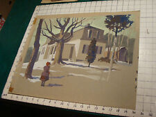 Vintage unfinished painting on paper, girl with hoop toy w house, Winter NH