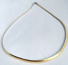 "Vintage Aurafin 14k Yellow & White   Two-Tone Reversible Omega Necklace 17"" 4 MM"