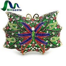 Milisente Women Bag Lady Clutch Purse Butterfly Rhinestone Crystal Evening Bags