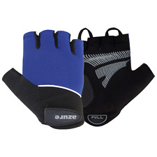 Cycle Gloves Sports Mountain BMX Bike Half Finger Cycling Padded Mitts Blue Lrg