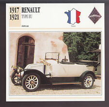 1917-1921 Renault Type EU France Car Photo Spec Sheet Info CARD 1918 1919 1920