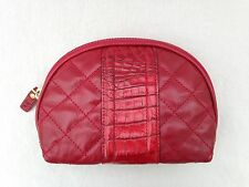 BRAHMIN Cosmetic Bag Makeup Case Pouch Red Quilted & Croc-Embossed Leather