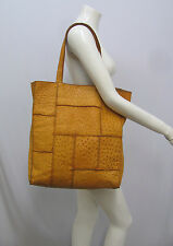 GENUINE OSTRICH TOTE PURSE EXTRA LARGE MUSTARD YELLOW VERY DEEP & ROOMY ESTATE