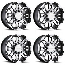 16x6 Vision Off Road 375 Warrior 8x165 8x6.5 0 Black Machined Wheel New set(4)