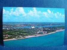 Postcard FL Palm Beach Vintage Airivew of Beach & Town #3