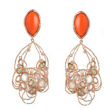 De Buman 18k Rose Gold Plated Red Coral and Multi-colored Crystal Earrings
