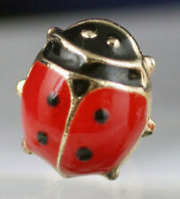 Solid 14K Yellow Gold Red Lady Bug Screw Back Stud Earrings Children Baby NEW