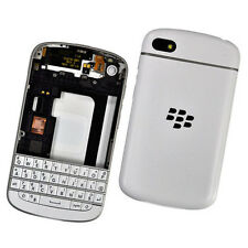 Replacement Full Housing Case Cover for BlackBerry Q10 Silver Bezel +Tools white