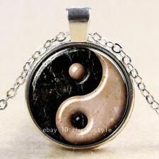 whit black  yin yang Cabochon Glass Tibet Silver Chain Pendant Necklace HZ#132