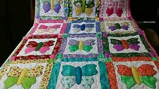 Handcrafted Handmade Girl Appliqued Pieced Butterfly Baby Crib Lap Throw Quilt
