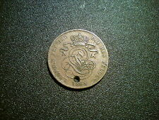1865 BELGIUM 2 CENTIMES COIN. NICE DETAIL. HOLED