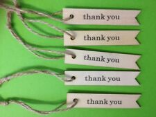 5 NATURAL WOODEN THANK YOU TAG PLAQUE CARD MAKING CRAFT EMBELLISHMENTS