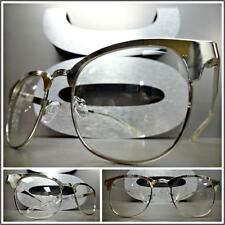 Men's VINTAGE 50's RETRO Style Clear Lens EYE GLASSES Silver Metal Fashion Frame