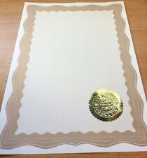 30 A4 Paper Plain Blank Certificates With Gold Border & 30 Gold Embossed Seals