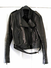 Mango Black Genuine Real Leather Biker Jacket Size M 10 Very Good Condition
