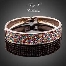 18K Rose GP Multicolour Swarovski Crystal Paved Cuff Bangle Bracelet (B457-26)