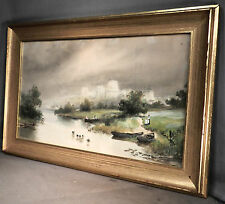 Antique Old English Country Watercolor landscape Painting A Chester Ducks castle