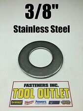 """(100) 3/8"""" Stainless Steel Flat Washers (18-8 Stainless) 7/8"""" OD / .050 Thick"""