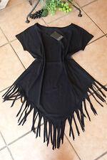 BORIS INDUSTRIES Kurzarm Shirt Fransen 46 48 (4) NEU LAGENLOOK schwarz Längen