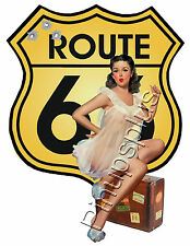 Retro Route 66 Pinup Girl Waterslide Decal Sticker for Guitars & More S798