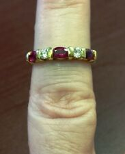 18k Yellow Gold 5-Stone Ruby & Diamond Band .15ctw H-I VS2-SI1 $2,350 Appraised