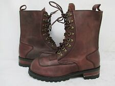 Smack USA Brown Leather Hunting Work Punk Lace Boots Mens Size 10.5