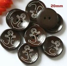 "Lot of 10 NAUTICAL ANCHOR Brown or Natural 2-hole Wooden Buttons 3/4"" 20mm (567)"