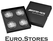 Mercedes-Benz AMG Center Wheel Hub Caps Set Silver Black For CLA CLS GLS Genuine