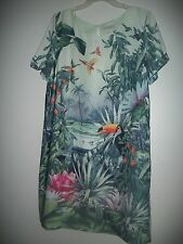 H&M Conscious Collection 100% Recycled Fabric Tropical Print Tunic Dress size 14