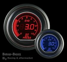 52mm Digital LED Evo Series Electrical Metric Oil Pressure Gauge Red/Blue -BAR