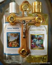 Holy water 250 ,anointing oil  250 ml and olive wood cross from Jerusalem gift