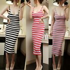 Sexy Womens Striped Backless Stretch Cocktail Club Evening Party Bodycon Dress