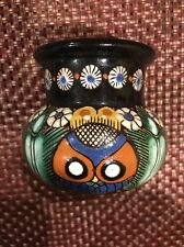 Antique Thoune Owl Swiss Majolica Pottery Small Vase