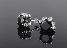 925 sterling silver Women Men Eagle Dragon Claw Obsidian Stud Earrings Box P3