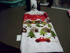 Cabins Trees Pick Up Truck  Crochet Top Kitchen Towel White Yarn Tree Button