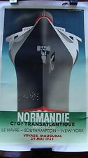 1990 Adolphe Mouron Cassandre Normandie French Line Lithograph