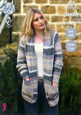 KNITTING PATTERN Ladies Easy Knit Long Sleeve Long Cardigan Pockets Chunky 4599